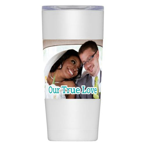 "Personalized insulated steel mug personalized with photo and the saying ""Our True Love"""