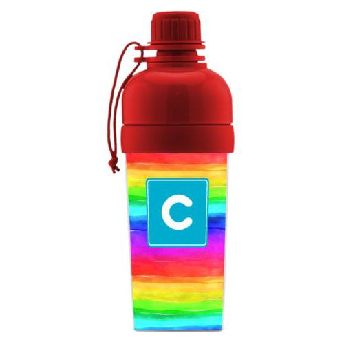 Kids water bottle personalized with rainbow bright pattern and initial in caribbean party goods