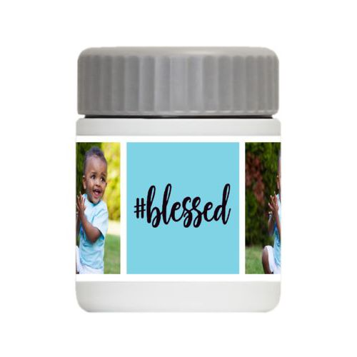 "Personalized 12oz food jar personalized with a photo and the saying ""#Blessed"" in black and sweet teal"
