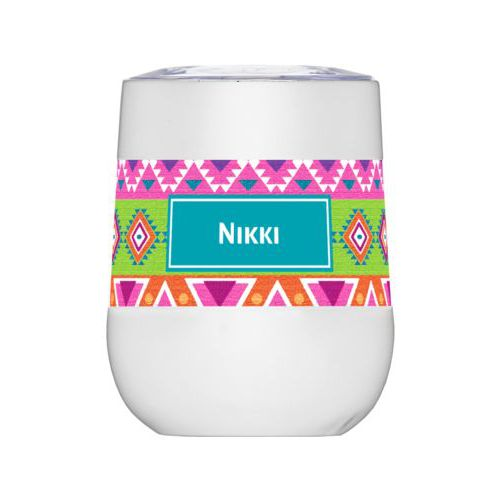 Personalized insulated wine tumbler personalized with aztec pattern and name in cerulean