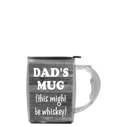"Custom mug with handle personalized with grey rustic pattern and the saying ""DAD'S MUG (this might be whiskey)"""