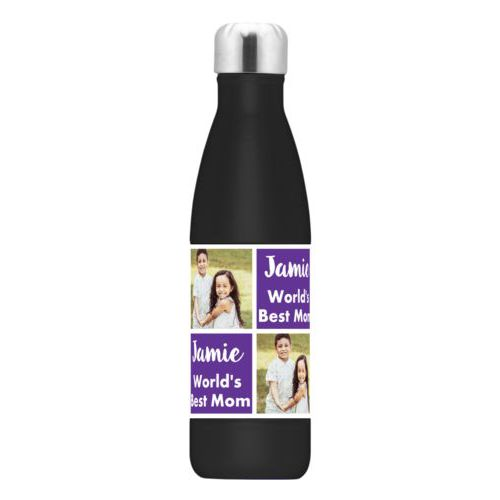 "Stainless water bottle personalized with a photo and the saying ""Jamie World's Best Mom"" in purple and white"
