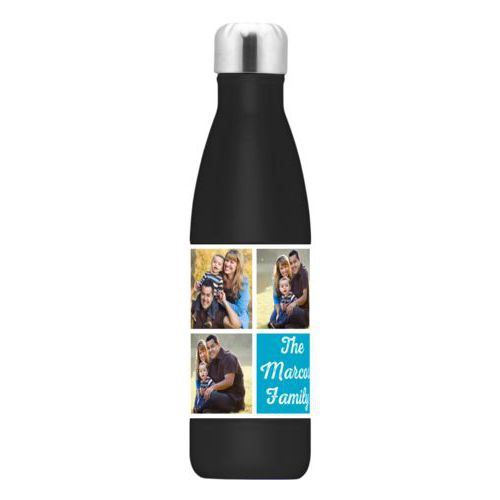 "Personalized steel water bottle personalized with photos and the saying ""The Marcos Family"" in juicy blue and white"