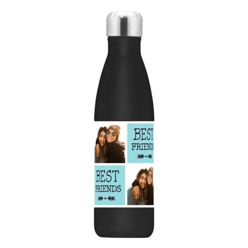 "Double walled water bottle personalized with a photo and the saying ""Best Friends"" in black and robin's shell"