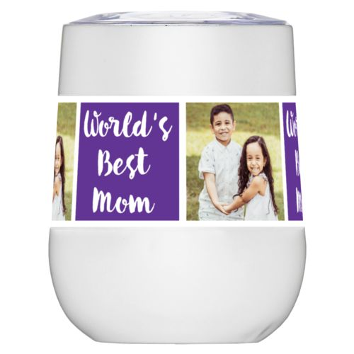 "Personalized insulated wine tumbler personalized with a photo and the saying ""Jamie World's Best Mom"" in purple and white"