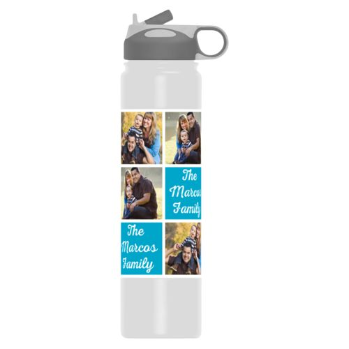 "Custom water bottle personalized with photos and the saying ""The Marcos Family"" in juicy blue and white"