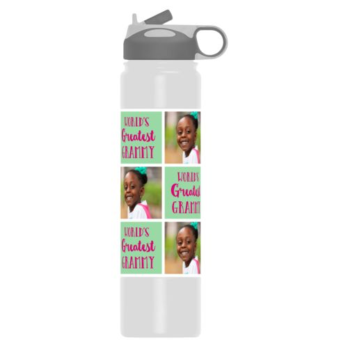 "Custom water bottle personalized with a photo and the saying ""World's Greatest Grammy"" in pomegranate and spearmint"