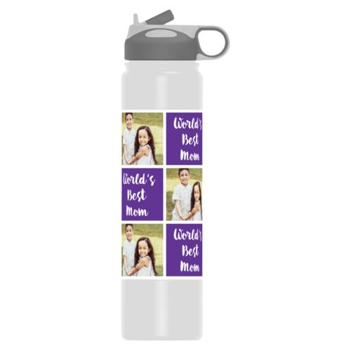 "Vacuum sealed water bottle personalized with a photo and the saying ""Jamie World's Best Mom"" in purple and white"