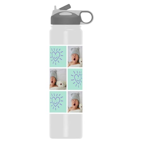 "Insulated water bottle personalized with a photo and the saying ""Smiling Heart"" in easter purple and mint"