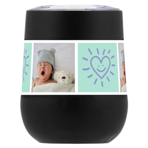 "Personalized insulated wine tumbler personalized with a photo and the saying ""Smiling Heart"" in easter purple and mint"