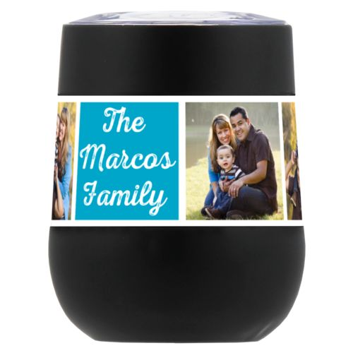 "Personalized insulated wine tumbler personalized with photos and the saying ""The Marcos Family"" in juicy blue and white"
