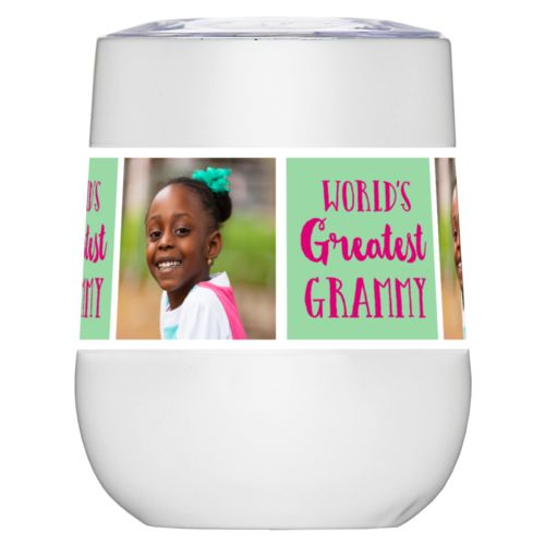 "Personalized insulated wine tumbler personalized with a photo and the saying ""World's Greatest Grammy"" in pomegranate and spearmint"
