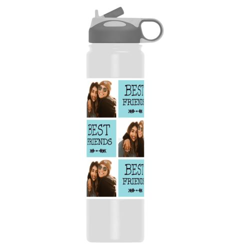 "Vacuum insulated water bottle personalized with a photo and the saying ""Best Friends"" in black and robin's shell"