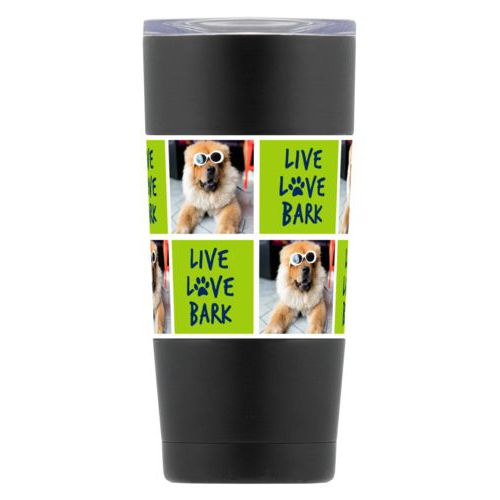 "Personalized insulated steel mug personalized with a photo and the saying ""Live love bark"" in navy blue and juicy green"
