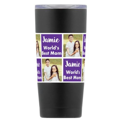 "Personalized insulated steel mug personalized with a photo and the saying ""Jamie World's Best Mom"" in purple and white"