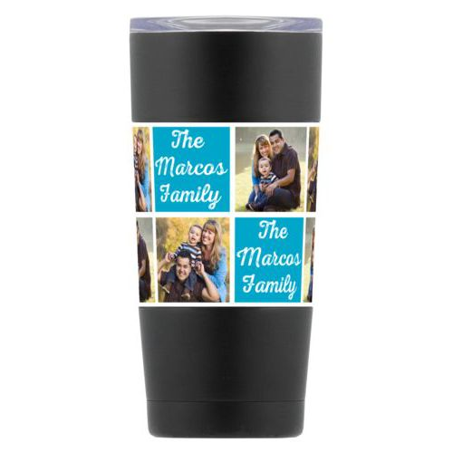"Personalized insulated steel mug personalized with photos and the saying ""The Marcos Family"" in juicy blue and white"