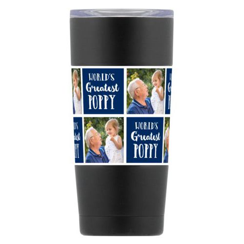 "Personalized insulated steel mug personalized with a photo and the saying ""World's Greatest Poppy"" in navy blue and white"