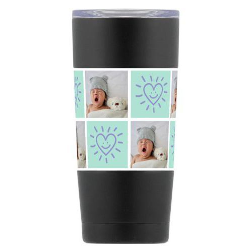 "Personalized insulated steel mug personalized with a photo and the saying ""Smiling Heart"" in easter purple and mint"