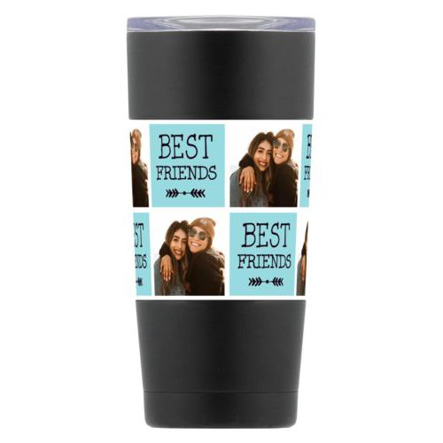 "Personalized insulated steel mug personalized with a photo and the saying ""Best Friends"" in black and robin's shell"
