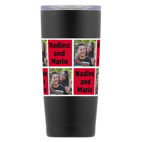 "Personalized insulated steel mug personalized with a photo and the saying ""Nadine and Mario"" in black and apple red"
