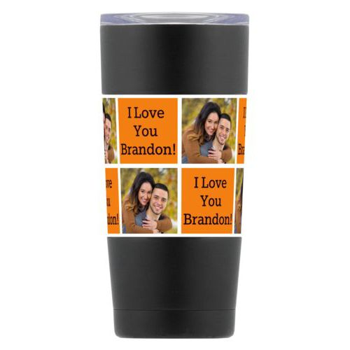 "Personalized insulated steel mug personalized with a photo and the saying ""I Love You Brandon!"" in black and juicy orange"