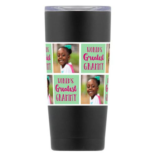 "Personalized insulated steel mug personalized with a photo and the saying ""World's Greatest Grammy"" in pomegranate and spearmint"