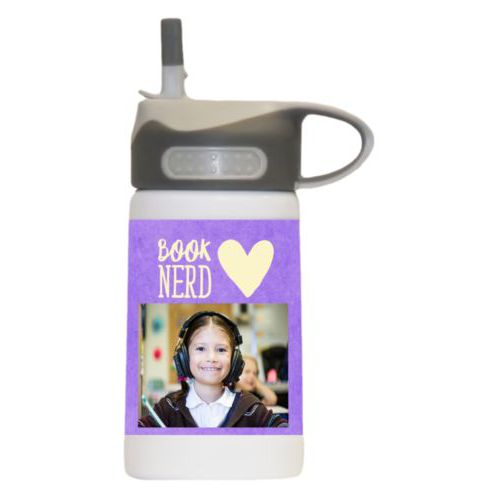 "Water bottle for girls personalized with purple chalk pattern and photo and the sayings ""book nerd"" and ""Heart"""