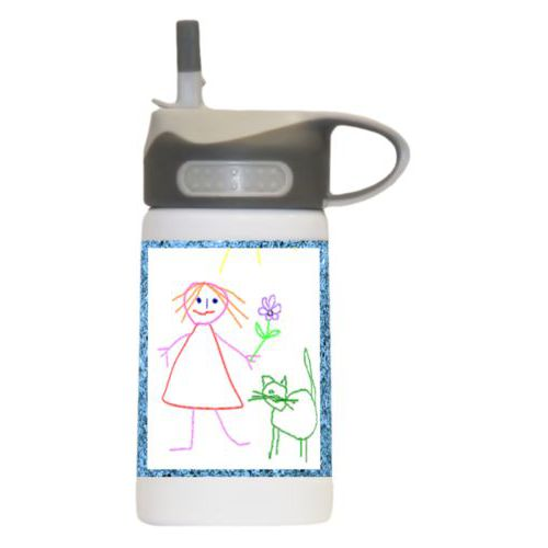 Water bottle for 5 year old personalized with light blue glitter pattern and photo