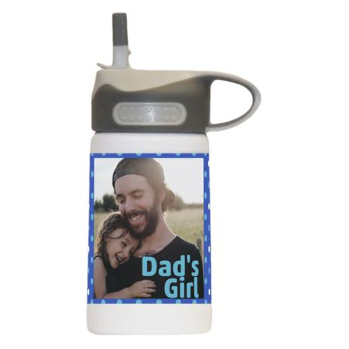 "Kids water bottle personalized with small dots pattern and photo and the saying ""Dad's Girl"""
