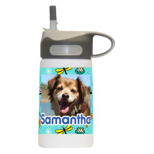 "Personalized water bottle for kids personalized with bugs dragonfly pattern and photo and the saying ""Samantha"""