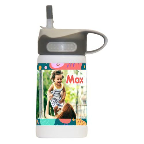 "Preschool water bottle personalized with africa pattern and photo and the saying ""Max"""