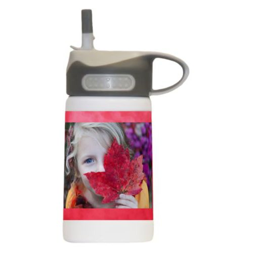 Water bottle for kids personalized with red cloud pattern and photo