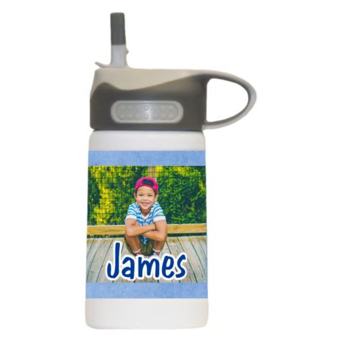 "Water bottle for kids personalized with blue chalk pattern and photo and the saying ""James"""