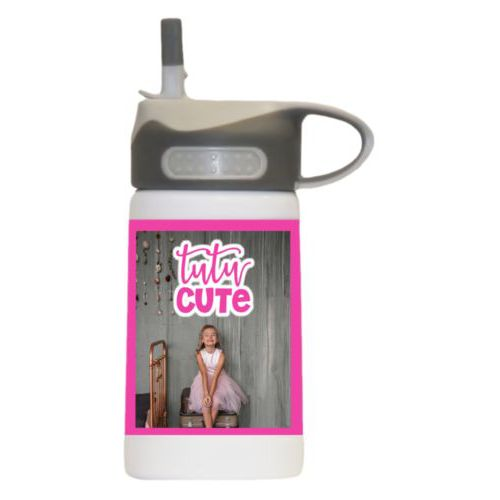 "Kids insulated water bottle personalized with photo and the saying ""tutu cute"""