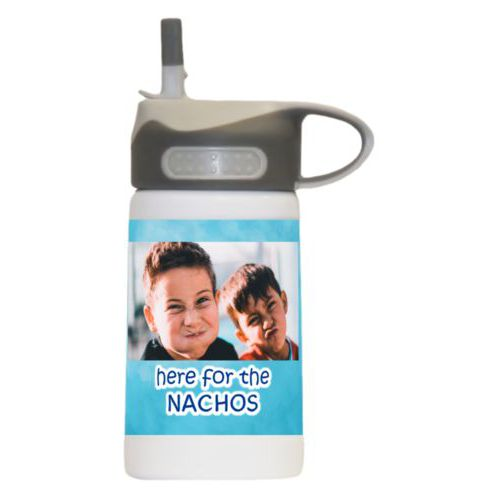 "Childrens water bottle personalized with teal cloud pattern and photo and the saying ""here for the Nachos"""