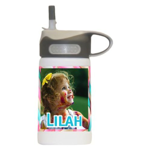 "Water bottle for kids personalized with sweets twist pattern and photo and the saying ""Lilah"""