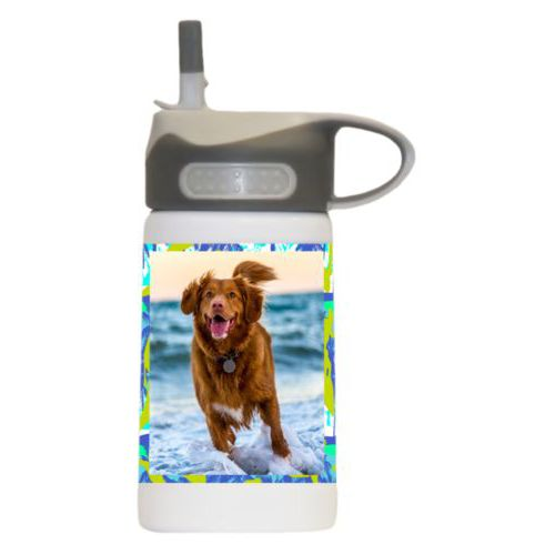 Personalized water bottle for kids personalized with sup pattern and photo