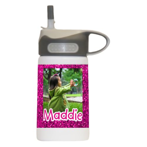 "Cute water bottle for kids personalized with pink glitter pattern and photo and the saying ""Maddie"""