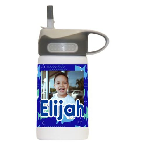 "Kids water bottle for school personalized with sharks pattern and photo and the saying ""Elijah"""