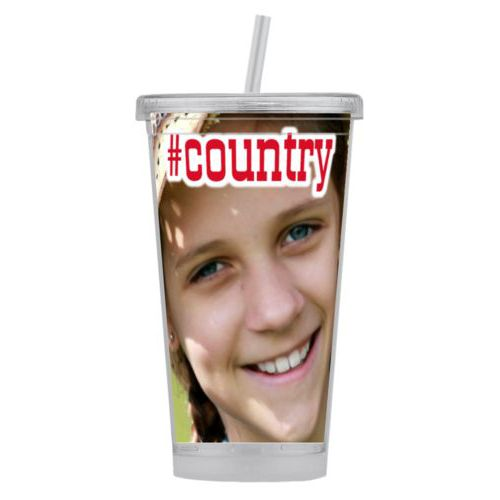 "Personalized tumbler personalized with photo and the saying ""#country"""