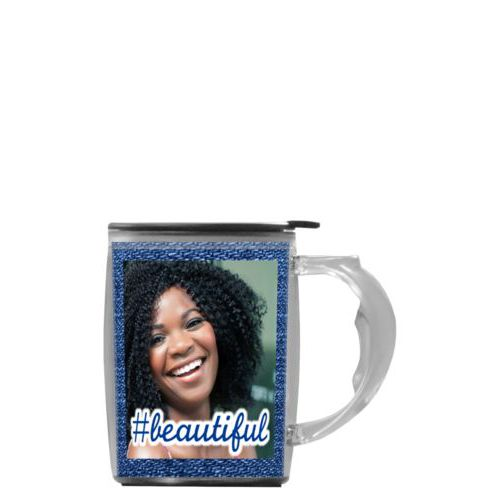 "Custom mug with handle personalized with photo and the saying ""#beautiful"""
