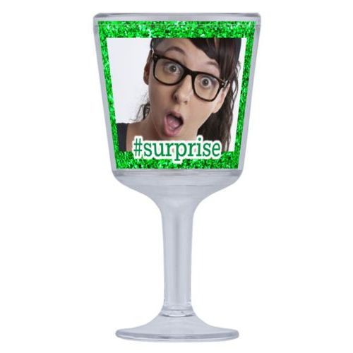 "Personalized wine cup with straw personalized with photo and the saying ""#surprise"""
