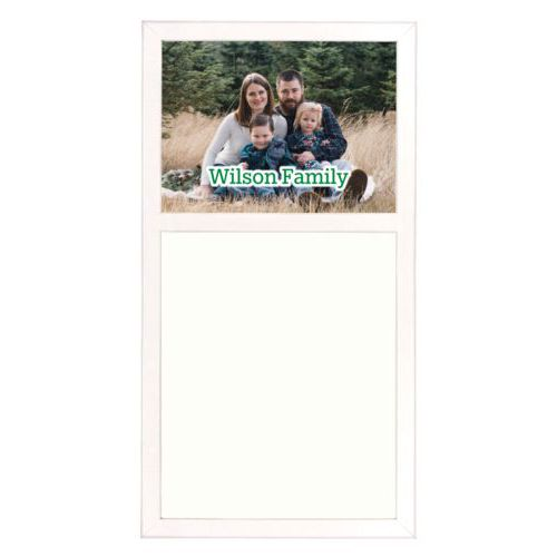 "Personalized white board personalized with photo and the saying ""Wilson Family"""