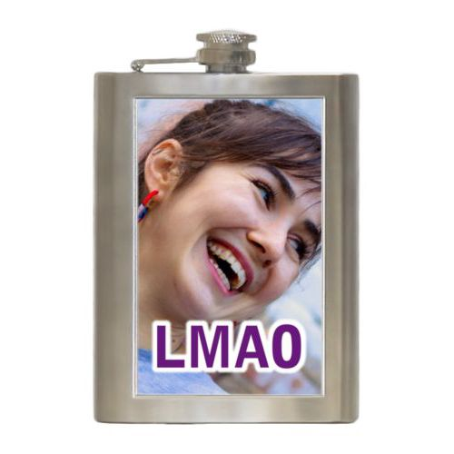 "Personalized 8oz flask personalized with photo and the saying ""LMAO"""