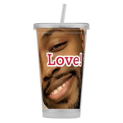 "Personalized tumbler personalized with photo and the saying ""Love!"""