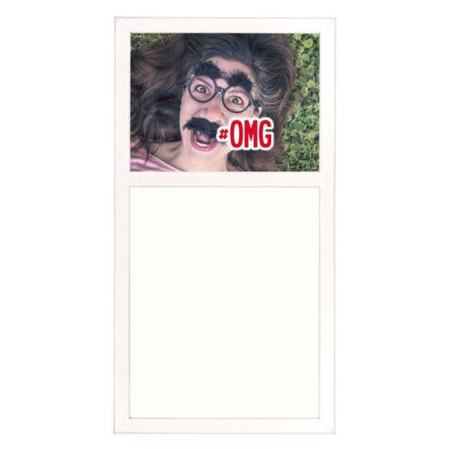 "Personalized white board personalized with photo and the saying ""#omg"""