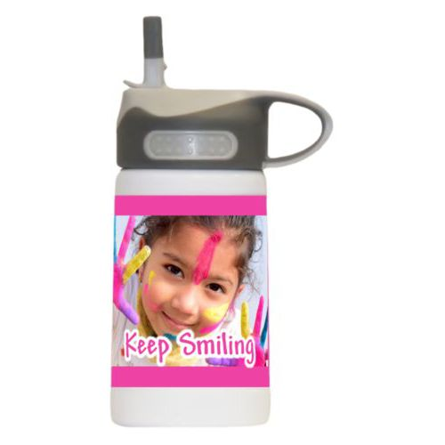 "Kids stainless steel water bottle personalized with photo and the saying ""Keep Smiling"""
