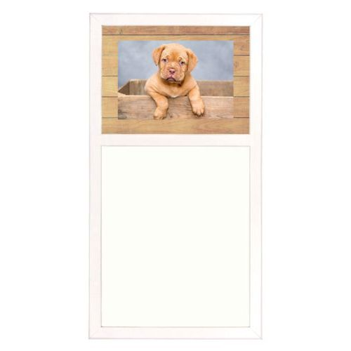 Personalized white board personalized with natural wood pattern and photo