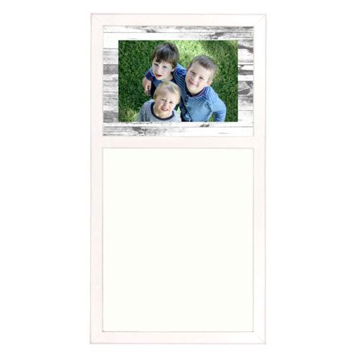 Personalized white board personalized with white rustic pattern and photo