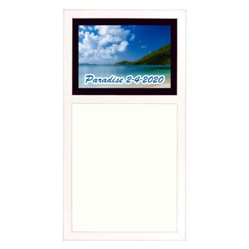 "Personalized white board personalized with photo and the saying ""Paradise 2-4-2020"""